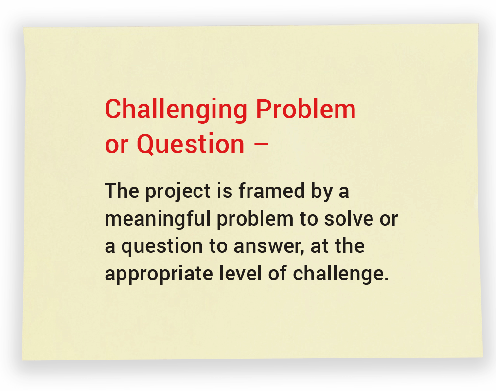 Challenging Problem or Question. The project is framed by a meaningful problem to solve or a question to answer, at the appropriate level of challenge.
