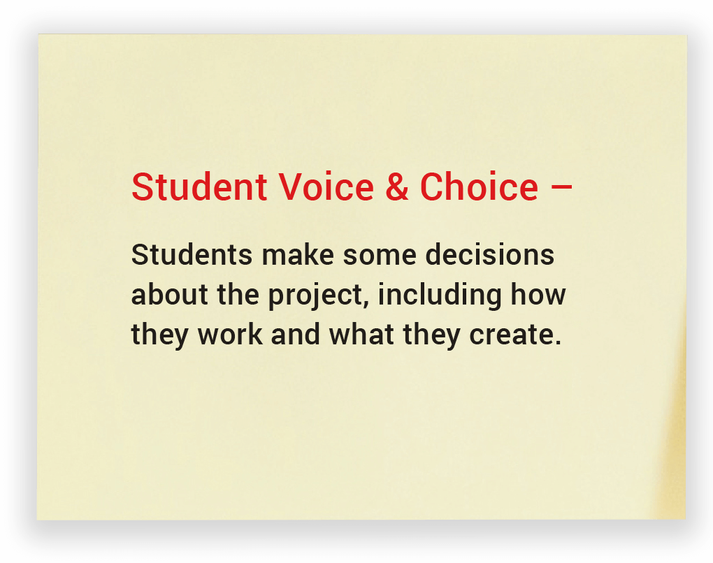 Student Voice & Choice. Students make some decisions about the project, including how they work and what they create.
