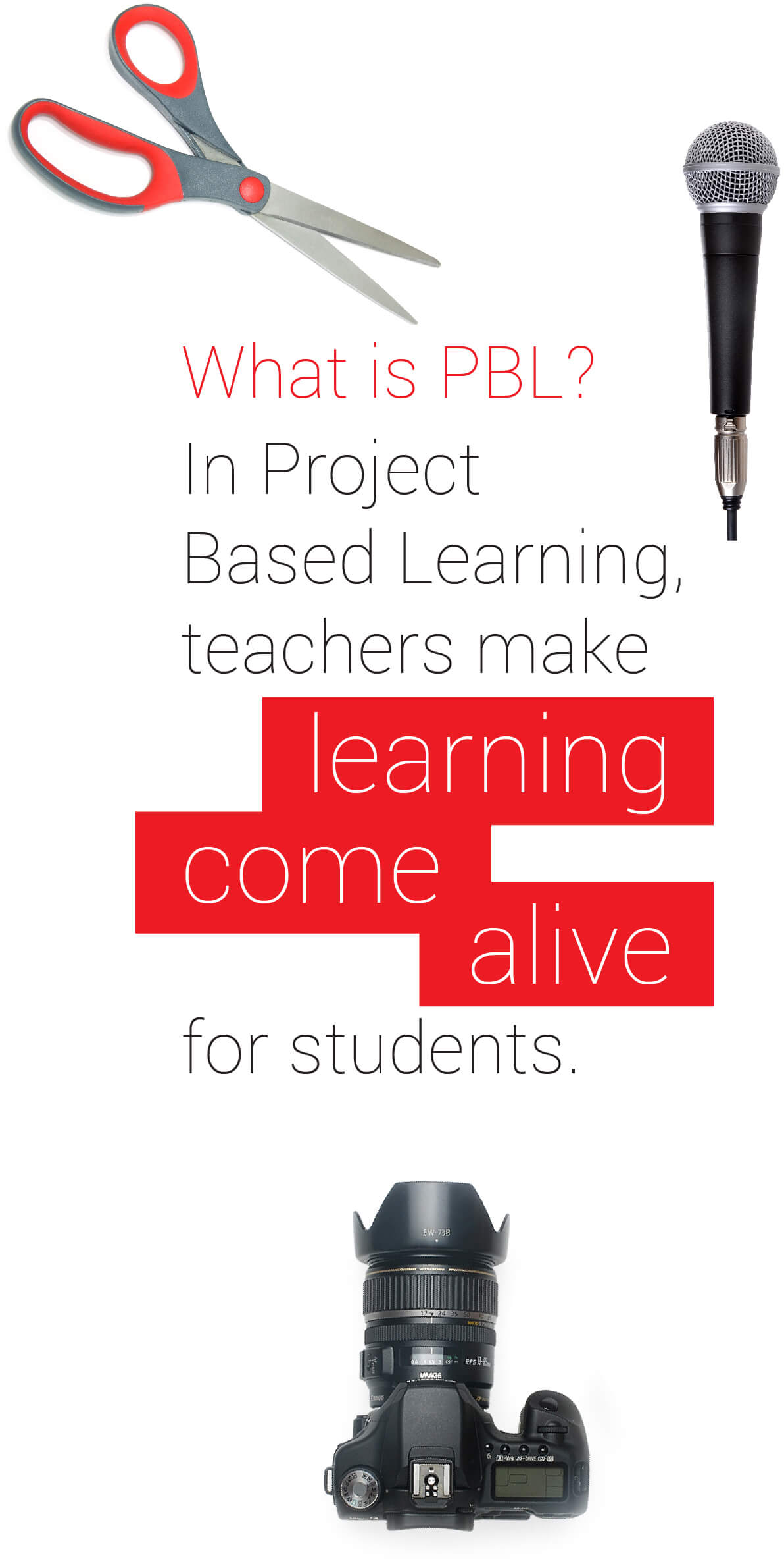 What is PBL? In Project Based Learning, teachers make <em>learning come alive</em> for students with a microphone, scissors, and a digital SLR camera.